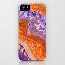 Clemson Orange and Purple Paint Pour Effect iPhone Case