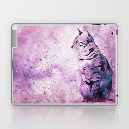 Pink Watercolor Cat Painting Laptop & iPad Skin