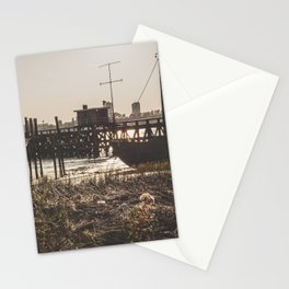 Wooden scaffold with boat at sundown near the port of Antwerp, Belgium / fine art landscape print Stationery Cards