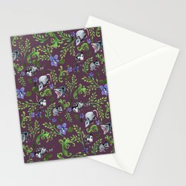 Opossum, Fern, & Violet Print Stationery Cards