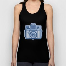 I Still Shoot Film Holga Logo - Reversed Blue Unisex Tank Top