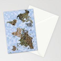 CAMO WORLD ATLAS MAP (blue) Stationery Cards