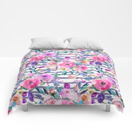 Pink mauve lilac hand painted watercolor roses floral stripes Comforters
