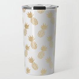 Gold Pineapple Pattern Travel Mug