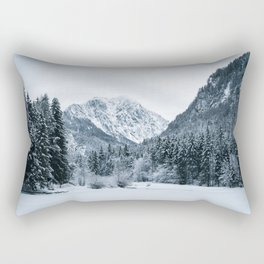 Mountains and frozen lake Zgornje Jezersko Rectangular Pillow