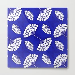 African Floral Motif on Royal Blue Metal Print
