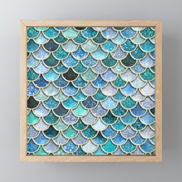 Multicolor Aqua Mermaid Scales - Beautiful Abstract Glitter Pattern Framed Mini Art Print