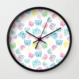 I Love Butterflies White Background Wall Clock