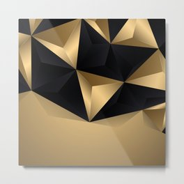 Black And Gold Abstract Design Metal Print