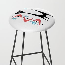 Mid Century Modern Atomic Retro Abstract Cat in Pink and Turquoise Blue Bar Stool