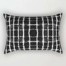 Shibori black horizontal and vertical stripes Rectangular Pillow