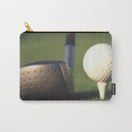 Golf Club and Ball on Tee Carry-All Pouch