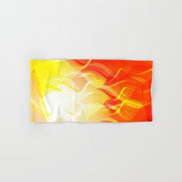 Theme of fire for the banner. Bright red and orange glare on a gentle background for a fabric or pos Hand & Bath Towel