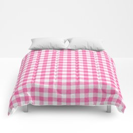 Pink Roses in Anzures 1 Gingham 2 Comforters