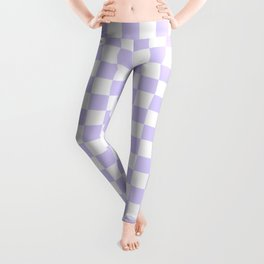 White and Pale Lavender Violet Checkerboard Leggings