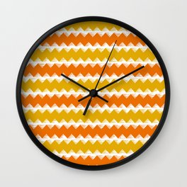 Gold and Orange Sawtooth Pattern Wall Clock