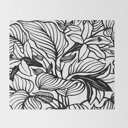 White Black Floral Minimalist Throw Blanket