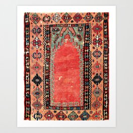 Sivas  Antique Cappadocian Turkish Niche Kilim Print Art Print