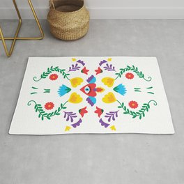 Mexican Otomi Embroidery Folk Art Sacred Heart Evil Eye Rug