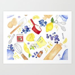 Blueberry Lemon Cake Art Print