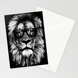 Hipster Lion Black Stationery Cards