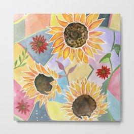 Sunflowers Art Deco Metal Print