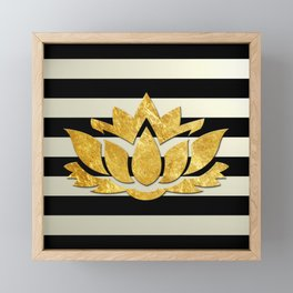 Horizontal Stripes & Gold Metallic Lotus Flower Framed Mini Art Print
