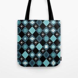 Mid Century Modern Black & Turquoise Diamonds Tote Bag