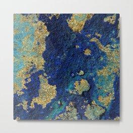 Indigo Teal and Gold Ocean Metal Print