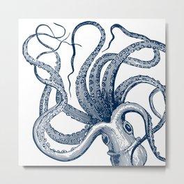 Octopus Navy Metal Print