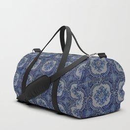 Vintage blue ceramic tiles pattern Duffle Bag