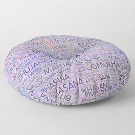 Yoga Asanas/Poses Sanskrit Word Art Floor Pillow