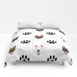 3 German Shepherd Colors Paw Print Pattern Comforters