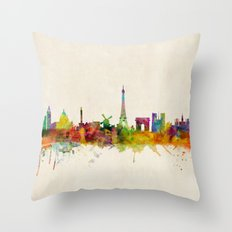 Paris Skyline Watercolor Throw Pillow