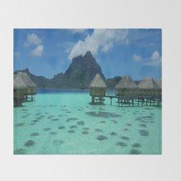 Bora Bora Bungalow Throw Blanket