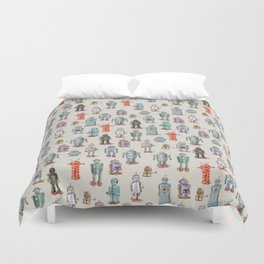 Vintage Style Robot Collection Duvet Cover