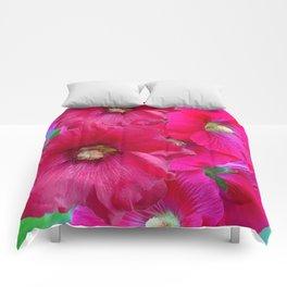 FUCHSIA PINK GARDEN HOLLYHOCKS Comforters