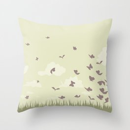 flying butterflies on a green landscape with sun Throw Pillow