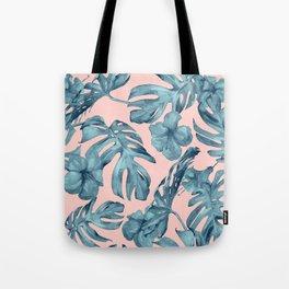 Island Life Teal on Light Pink Tote Bag