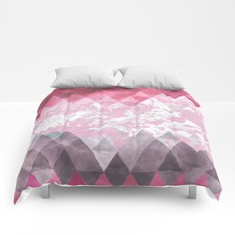 Abstract pink gray watercolor floral triangles Comforters