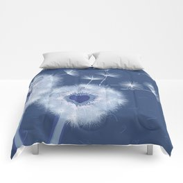 Love Blue Dandelions Hearts Design Comforters