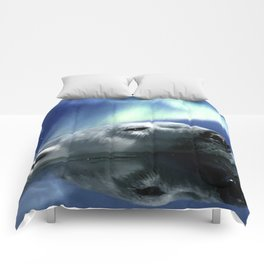 Aurora Dreaming - Swimming Polar Bear Comforters