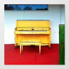 Out of Tune - Vintage Beach Piano Canvas Print