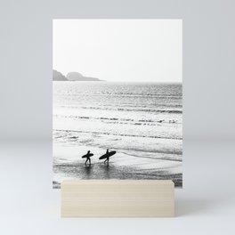 Surfers, Black and White, Beach Photography Mini Art Print
