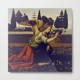 "Leonardo da Vinci ""Annunciation"" The Archangel Gabriel Metal Print"
