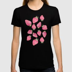 Strawberry  Black Womens Fitted Tee SMALL
