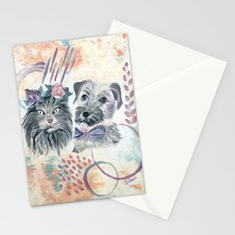 Scruffy Gray Cat and Dog Stationery Cards