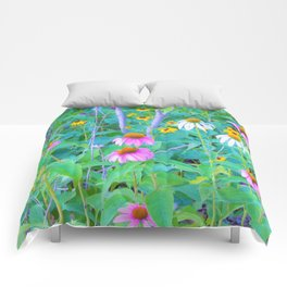 White and Purple Coneflowers and Yellow Rudbeckia Garden Comforters