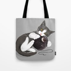 Kitten and Death Star Ball of Yarn Tote Bag