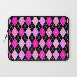 Pink Lavender Black Argyle Laptop Sleeve